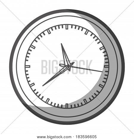 grayscale silhouette of wall clock with thick contour vector illustration