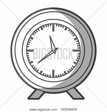 grayscale silhouette of desk clock with thick contour vector illustration