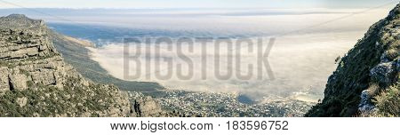Panoramic view of Camps Bay in Cape Town, South Africa from Table Mountain