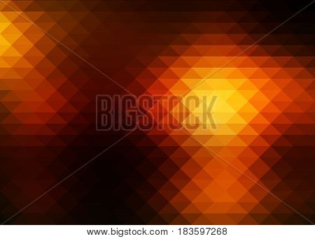Black orange yellow abstract geometric background with rows of triangles