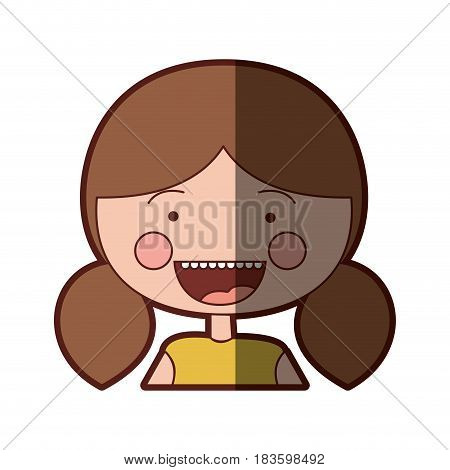 color silhouette shading smile expression cartoon half body girl with brown pigtails hair vector illustration