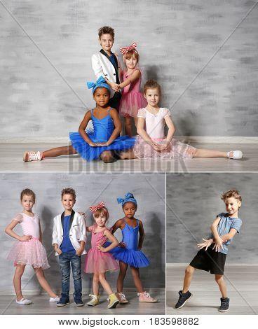 Collage of little children at dance studio