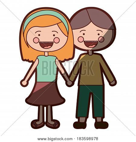 color silhouette shading smile expression cartoon couple in suit informal with taken hands vector illustration