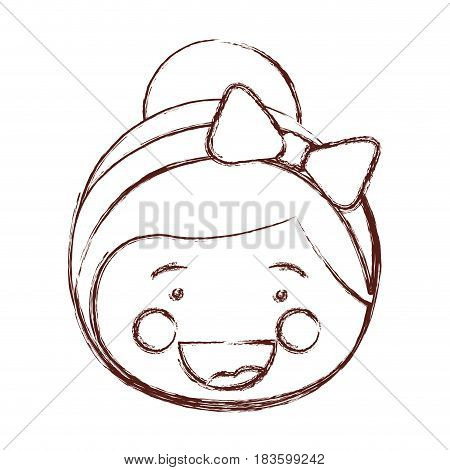 blurred contour shading smile expression cartoon front face girl with collected hair and bow lace vector illustration
