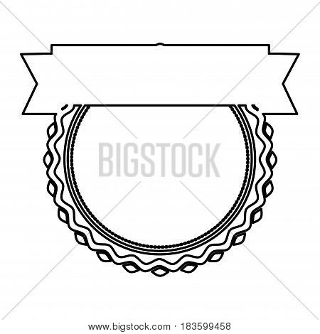 black silhouette heraldic irregular round stamp with circle inside and ribbon vector illustration
