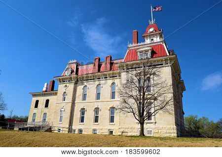 Historic Chase County Courthouse built in 1881 taken in Strong City, KS