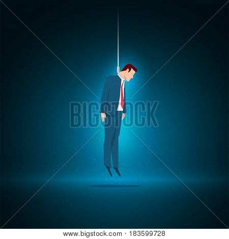Business concept illustration. The businessman committed suicide by hanging himself.