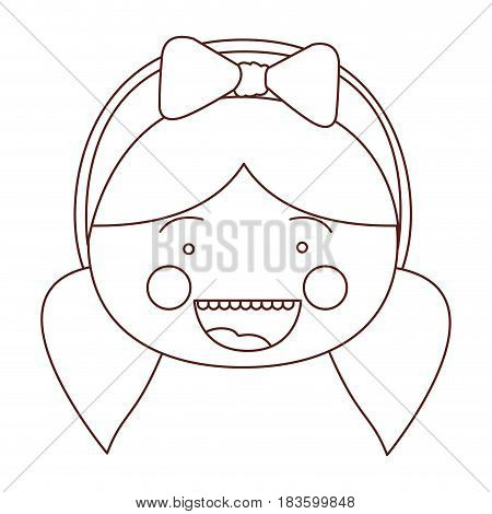 sketch contour smile expression cartoon front face girl with pigtails and bow lace hair vector illustration
