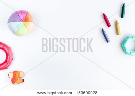 kids desk design with toys on white background top view space for text