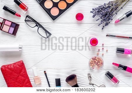 trendy woman desk with decorative cosmetic, glasses and lavender flowers on white background top view mockup