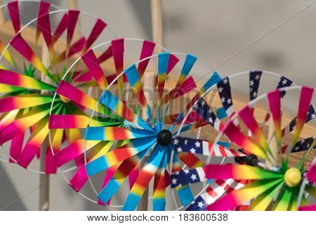 Close up the rainbow pinwheel toy colorful turbines toy