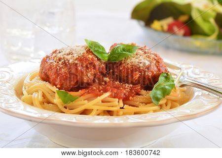 Rich and hearty spaghetti and meatballs in marinara sauce.