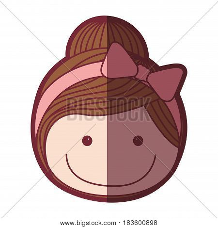 color silhouette shading cartoon front face girl with collected hair and pink bow lace vector illustration