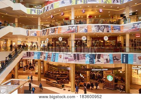 SAINT PETERSBURG, RUSSIA - CIRCA APRIL, 2017: various coffee shops at Galeria shopping center. Galeria is major shopping and entertainment center is located in downtown of St. Petersburg