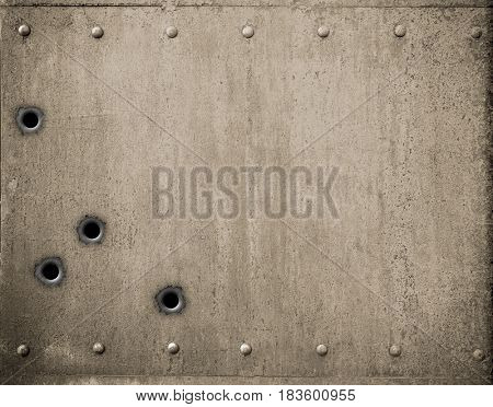 metal plate with bullet holes 3d illustration