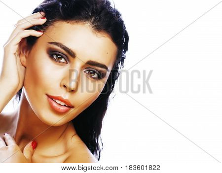 perfect beauty real brunette woman isolated on white background smiling close up spa makeup, positive girl