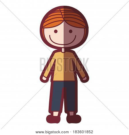 color silhouette shading cartoon blonded boy with coat and shorts vector illustration