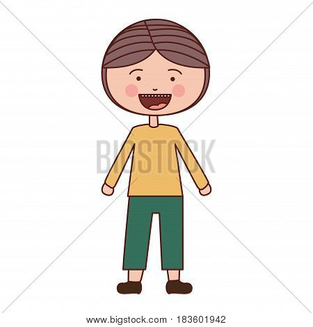 color silhouette smile expression cartoon boy with coat and shorts vector illustration