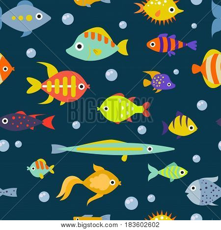 Cute fish vector illustration seamless pattern background.