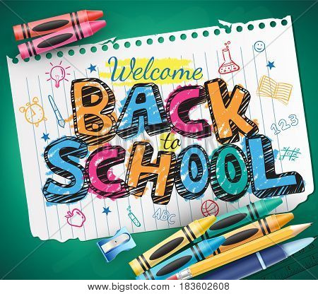 Back to School Doodle Written in a Piece of Paper with Colorful Crayons. Vector Illustration
