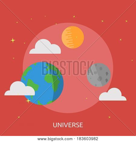 Universe Conceptual Design | Great flat illustration concept icon and use for space, universe, galaxy, astrology, planet and much more.
