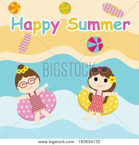 Two Cute girls play with swim ring on  the beach vector cartoon, Summer postcard, wallpaper, and greeting card, T-shirt design for kids