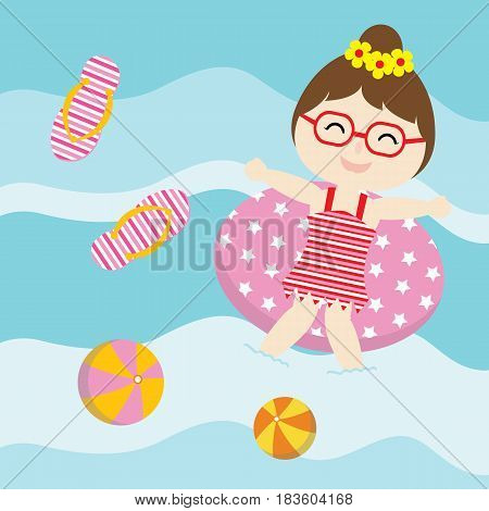 Cute girl plays with swim ring on  the water vector cartoon, Summer postcard, wallpaper, and greeting card, T-shirt design for kids