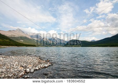 Landscape of Spray Lake in the Canadian Rocky Mountains Kananaskis Alberta.