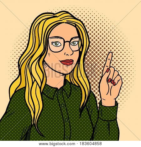 Girl talks and point with forefinger pop art retro vector illustration. Comic book style imitation.