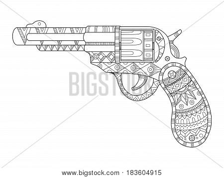 Revolver pistol coloring book vector illustration. Black and white lines. Lace pattern