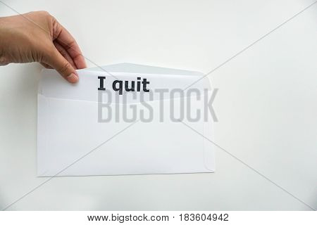 isolated business concept of quitting the job from company