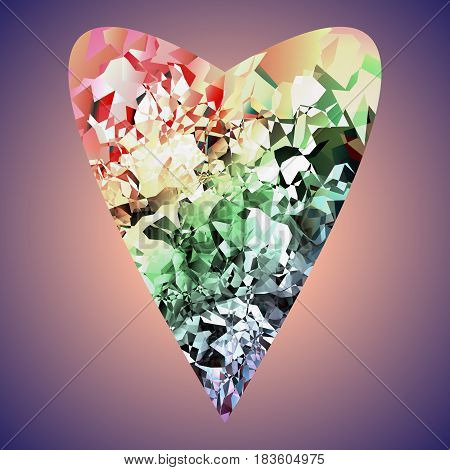 The image of the heart executed in the form of a crystal.