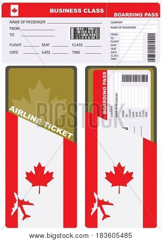 Plane ticket in business class flight to Canada. Service kit air ticket.