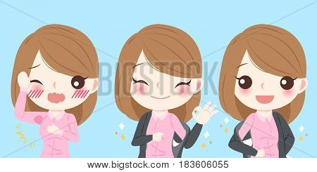cute cartoon businesswoman with armpit problem on blue background
