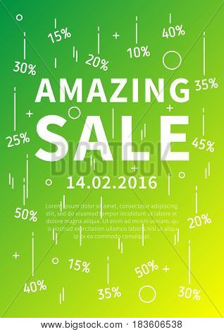 Amazing Sale vector banner with linear elements and sample text. Amazing Sale decoration poster on colorful background. Amazing Sale and discounts. Design graphic concept typography illustration.