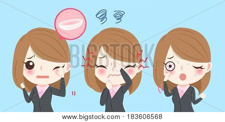 cute cartoon business woman with eye pain