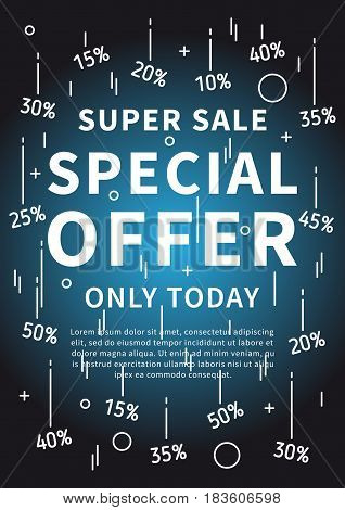 Special Offer Super Sale Only Today vector banner with linear elements and sample text. Special Offer Super Sale Only Today decoration poster. Design graphic concept typography illustration.
