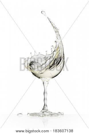 White wine glass on a isolated white background. 3d rendering