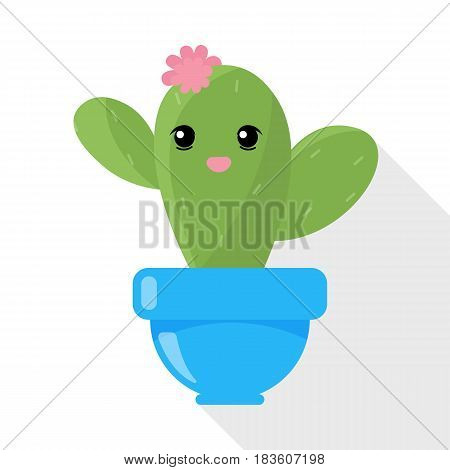 Cute cactus character with eyes and mouth. Vector image