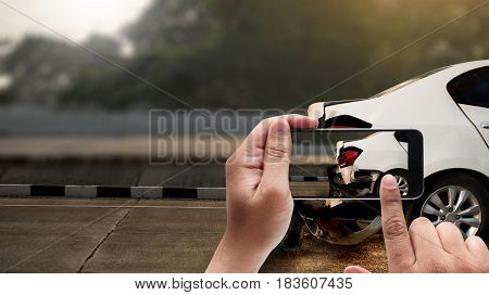 Accident On Street, Damaged Automobiles  Take Photo Car Crash Accident For Insurance