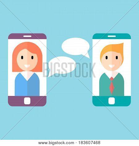 Man and woman on on smartphone screen chatting. Two people avatars
