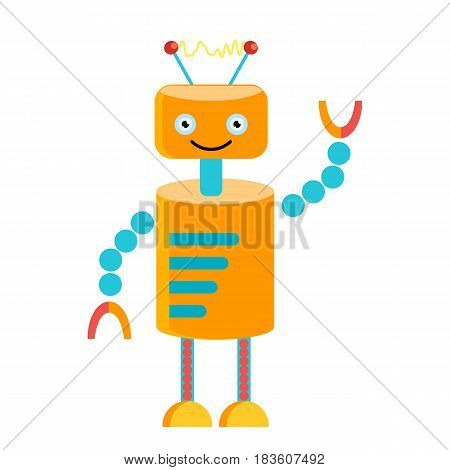 Orange robot with a cute smile. Cartoon character vector image
