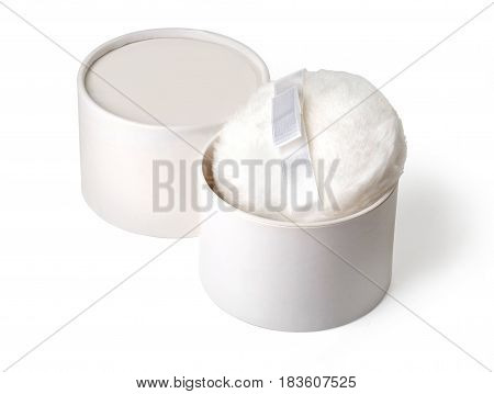Makeup powder with puff on white background isolated on white .With clipping path