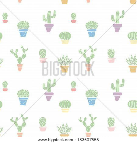 Pastel colored seamless cute cactus pattern with pots.