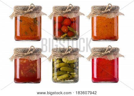jars of pickled vegetables. Marinated food. isolated