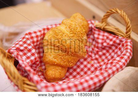 Croissants In Bakery Shop's Window Display