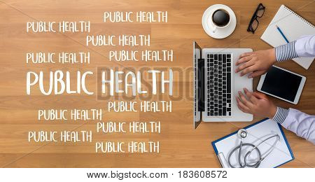 Public Health  Professional Doctor Use Computer And Medical Equipment All Around, Desktop Top View