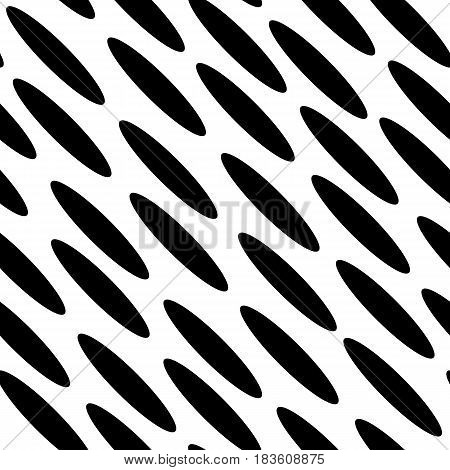 Seamless black and white spotted background. Diagonal ellipse pattern. Vector illustration.