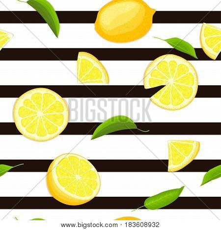 Ripe juicy tropical lemon striped seamless background. Vector card illustration. Fresh citrus yellow lime fruit, leaf on black lines. Seamless pattern for packaging design healthy food juce detox diet