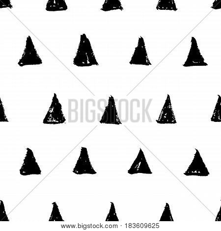 Hand drawn ink black triangles isolated on white background. Seamless black and white pattern in naive minimalistic style. Vector illustration.